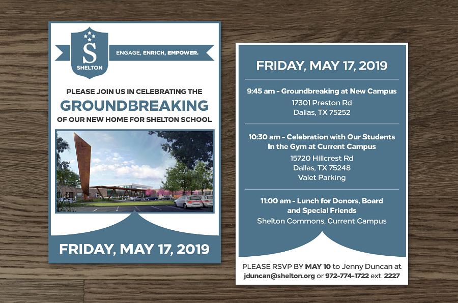 Dallas Graphic Design Shelton School Groundbreaking Invitation - Marina Wolf